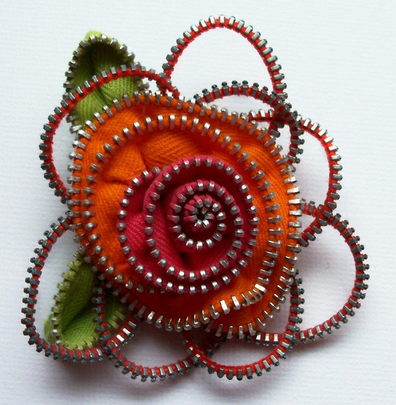 Bright Orange and Hot Pink Floral Brooch / Zipper Pin by ZipPinning 2159