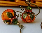 Pumpkin Earrings, Fall Jewelry, Halloween Earrings, Orange Earrings - pinkingedgedesigns