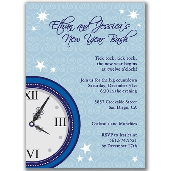 Clock Invitations for New Year's Eve Party