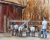 nusery farm art Large Sheep art PRINT/ Large Sheep print (watercolor sheep painting 11 x14) Red Barn baby nursery room decor wall decoration - rachellelevingston