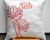 "Orange Water Lily-  Throw Pillow Cover - 18"" x 18"" Decorative Pillow Cover - Beige linen fabric with orange flower embroidery - KainKain"