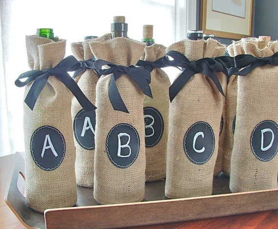 Jute Burlap Wine Bottle Bags to Custom Label over and over again - Set of 8