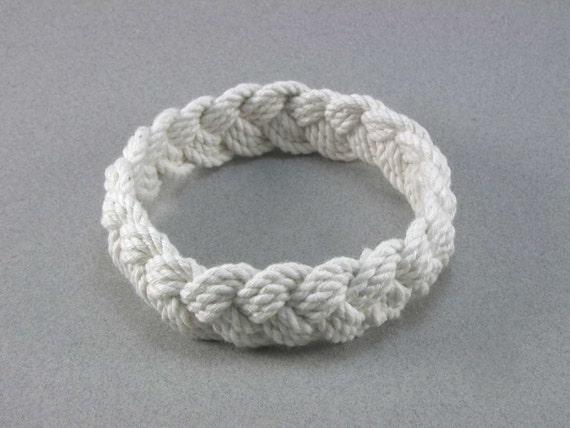 large white cotton turks head knot rope bracelet