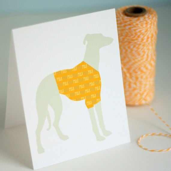 Custom T-Shirt Dog Silhouette Note Cards