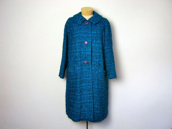 Vintage 1950s blue boucle wool winter coat