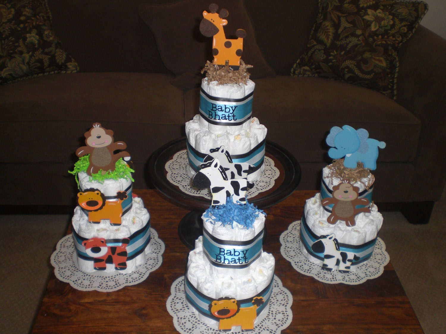 Pin jungle theme diaper cake centerpiece baby shower