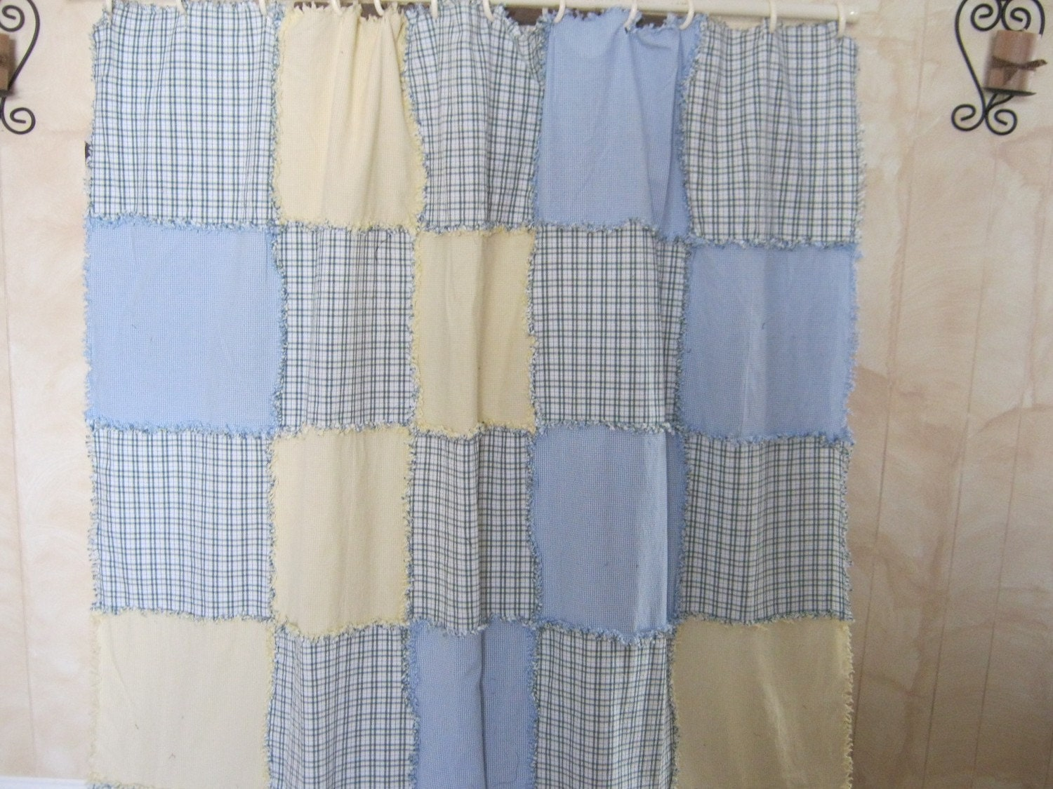 Pastel raggy shower curtain by kbardo on Etsy