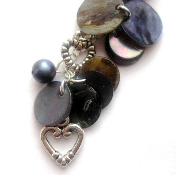 Blue Purse Charm. Pearls, Mother of Pearl, Silver Heart. Something Blue or Rear View Mirror Charm