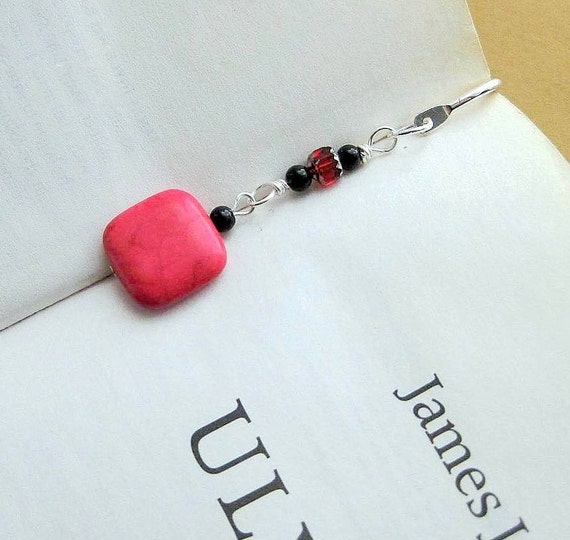 Cute Bookmark Hook. Beaded with Candy Red Stone. Silver Plated Squiggle Hook.