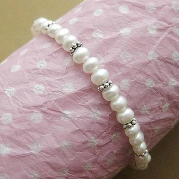 1st Communion Bracelet. White Pearls with Sterling Silver Cross or Moonstone. Young Bridesmaid or  Petite Bride
