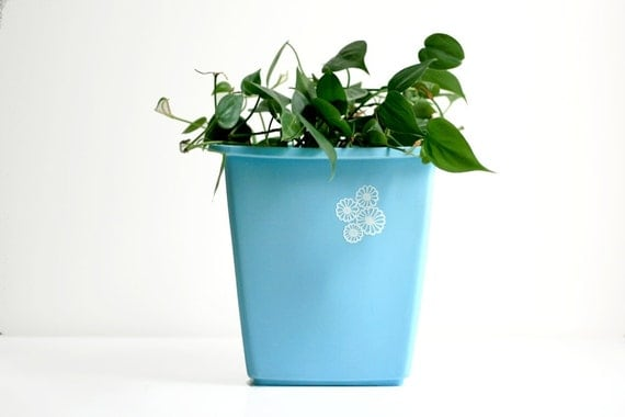 Vintage Sky Blue Trash Can
