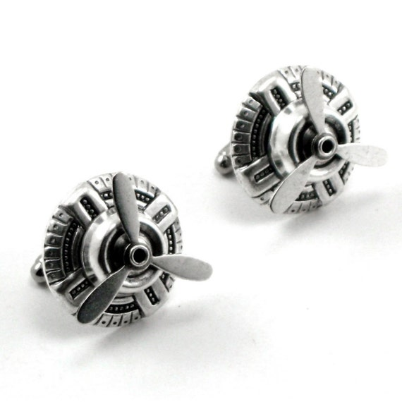 Sky Captain Cuff Links - Air Ship Pirate Geeky Steampunk Cufflinks with SPINNNG Propeller Blades in Antiqued Silver