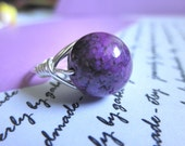 Purple/Violet FOSSIL RING size 5.75  - Wire Wrapped, Handmade, Silver, Lilac, Gemstone, Round, Custom Ring, Pretty, Simple - gabeadz