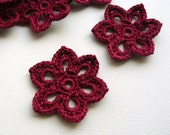 3 Crochet Flower Appliques -- 2 inch Diameter, in Burgundy - CaitlinSainio