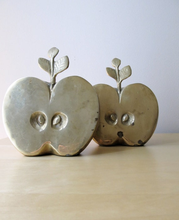 large vintage brass apple paperweight