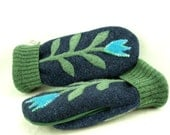 Mittens Felted Wool Flower Appliqued Mittens  Blue, Green and Turquoise Fleece Lining Suede Palm Up Cycled Eco Friendly Size M - ForMyDarling