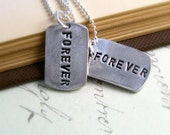 Forever Silver Necklaces His and Hers Personalized Wedding Set of Two Hand Stamped Fine Silver Dog Tags Winter Wedding Necklaces Under 100 - newhopebeading