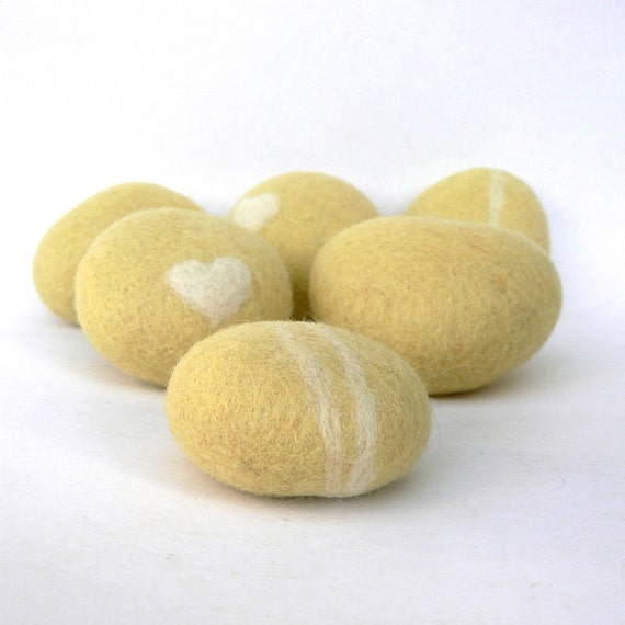 Felted Stones, pebbble, wool felt home decor, spring beach cottage chic, baby shower favor, hostess gift, butter yellow Easter Decorations