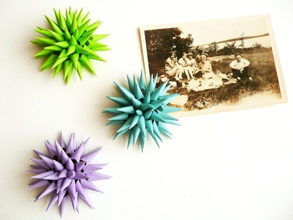Art Magnet Nature Stars Urchins Flowers Spiky Magnetic 3D Modern Home Decor - Special Set of THREE 2 inch - Teal Blue Green Lavender