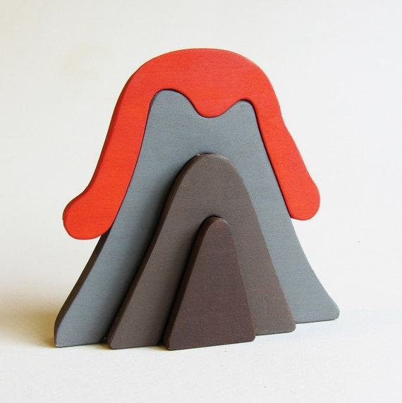 Wooden Volcano Stacker- Waldorf Toy- Eco-friendly