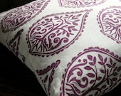 Deep Purple and White hand printed linen home decor pillow case - giardino