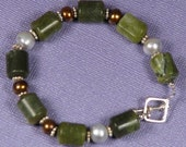 Natural Green Jade Bracelet with Sterling Silver and Freshwater Pearls