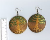Tree of Life- green and copper (handpainted wooden earrings)