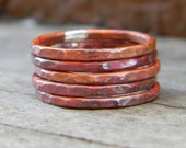 Perfectly Stackable - Set of Five Firescale Patina Copper Rings - DearAnge