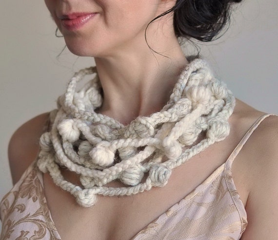 We Can Get Wild - freeform crocheted fiber necklace in natural cream shades - eco-fashion