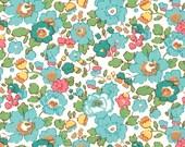 Liberty Tana Lawn Betsy Turquoise Fabric Half Yard - Alicecarolinesupply