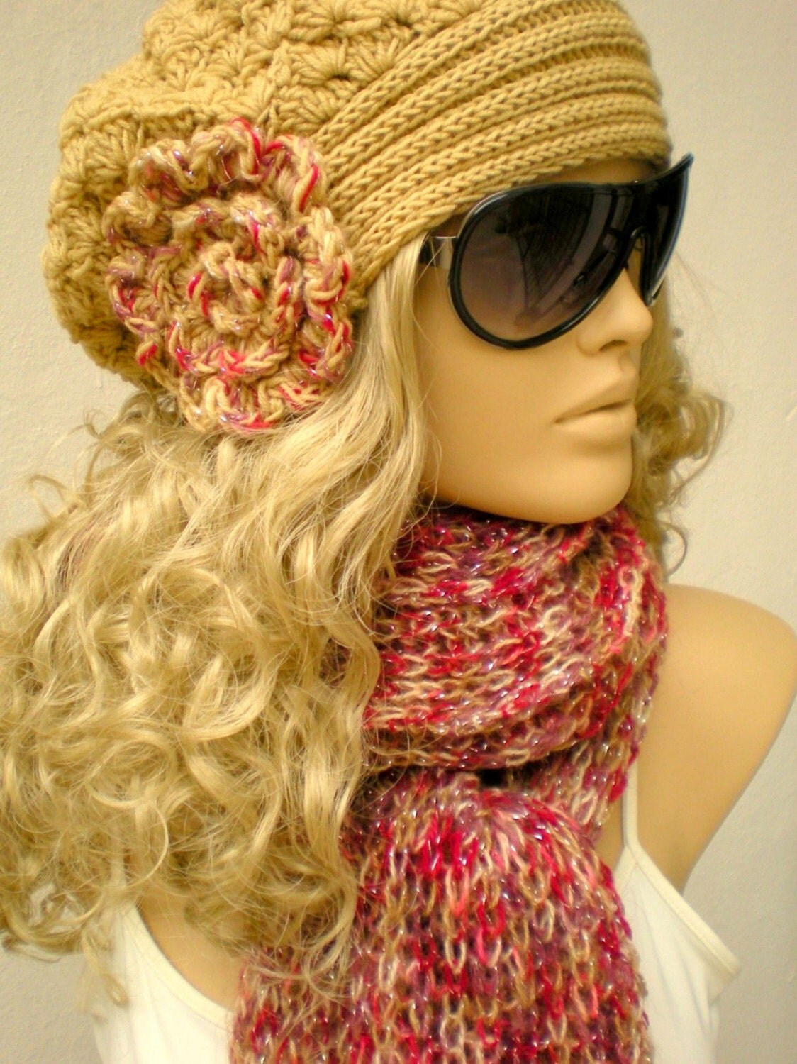 Hand crocheted and knitted Hat and Scarf Set by crochetbutterfly Crochet Scarves And Hats