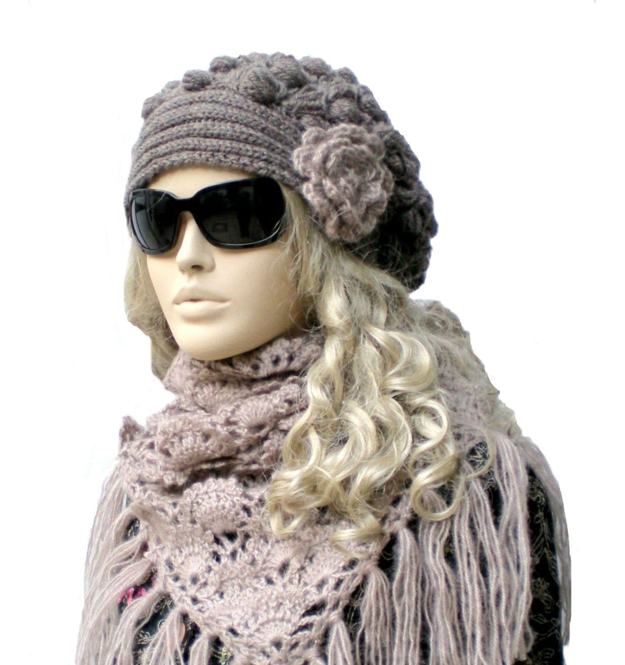 On Sale Crochet Hat and Shawl Scarf Set Hand crocheted and knitted  Crochet Scarves And Hats