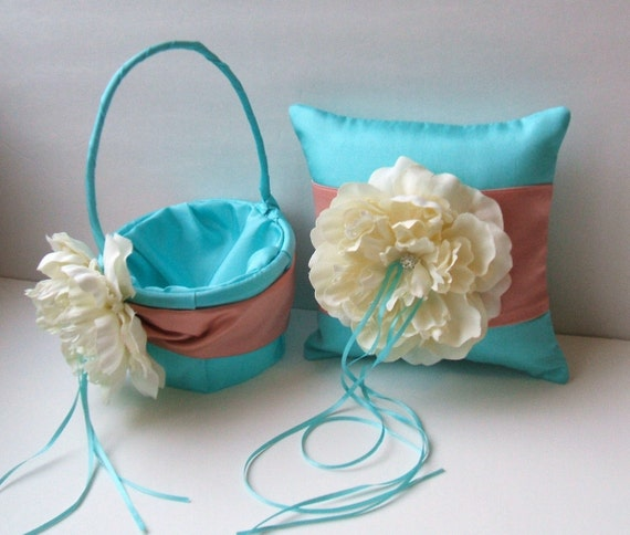 Romantic Peony Bloom Ring Bearer Pillow and  Flower Girl Basket Set in turquoise/coral/ivory with Crystal Rhinestone Accents..