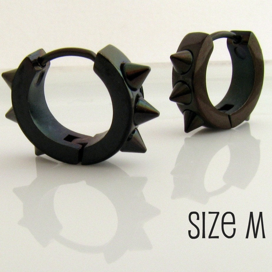 Guys Earrings on Mens Earrings Black Hoop Huggie   Earrings For Men Or Rockers