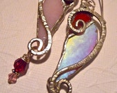 Glass heart, handmade red and pink earrings, recycled - MimiandMoi