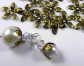 Adjustable Antique Brass, nickel free 5-leaf Flower Bead Cap, 15mm- 100 pcs