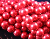 12mm Cherry Red Glass Pearl Beads - full strand 16 inch
