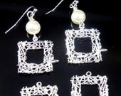 Square Silver Plated Rhinestone Branch Filigree Earring Pendants 23x22mm, Lead and Nickel Free - 2 pcs