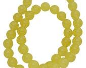 10mm Bright Yellow Round Jade Beads, full strand