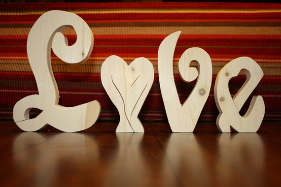 UNFINISHED  LOVE wood letters for Valentine's Day