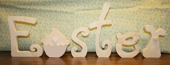 """UNFINISHED  Easter wood letters with chick as the """"A"""" and rabbit as the """"R""""."""