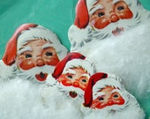 FUZZY SANTA Christmas STICKER Seals 3D white beard original pack vintage 1950s Die Cut ephemera - AppelJar