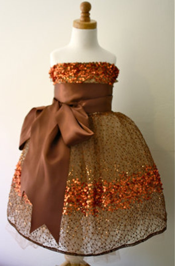 Copper Constellation Flower Girl Dress-  Chocolate Brown Sash Example