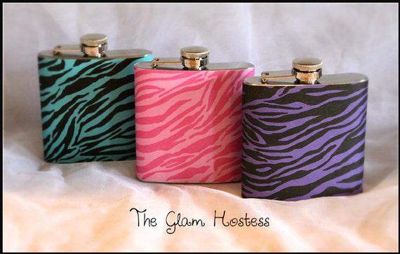 Zebra Print Glam Flasks - Set of 3