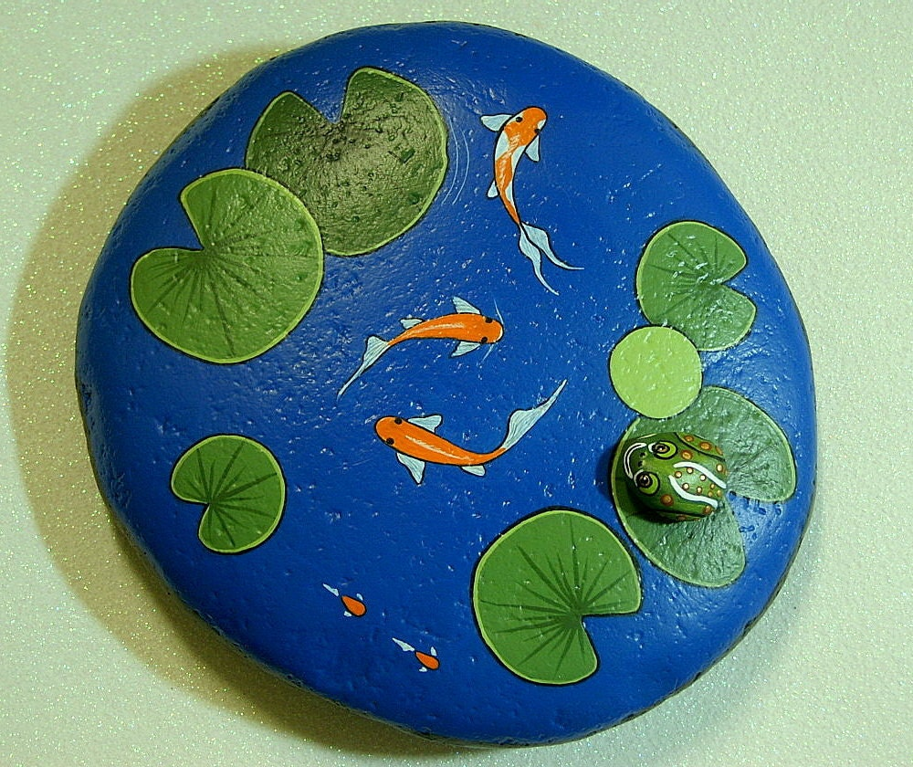 Koi Pond large weatherproof rock garden decor by RockArtiste