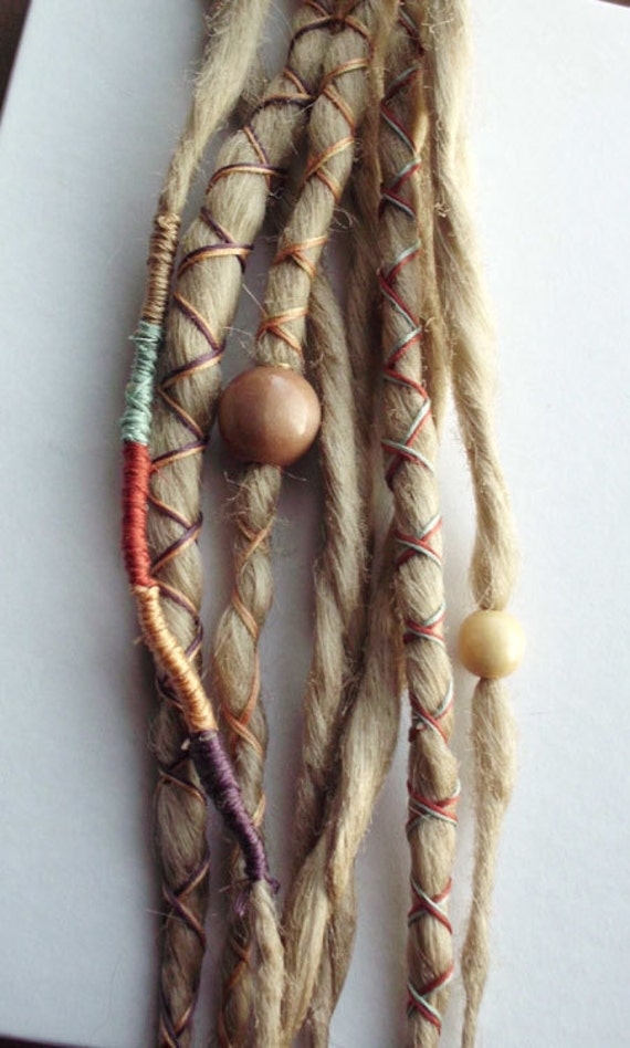 10 Custom Dreads Hair Wraps & Beads Bohemian Hippie Dreadlocks Blonde Tribal Falls Synthetic Boho Colored Extensions Hair Accessories