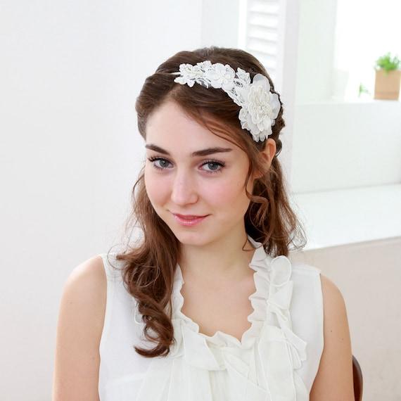 Lace headband - bridal headband, wedding headpiece, wedding hair, fascinator