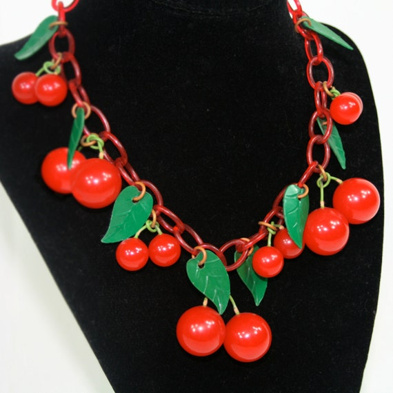 Vintage Bakelite Cherry Necklace