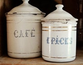vintage French enamelware tins, café (coffee) épices (spices), white with blue type, gold stripes - AtticAntics