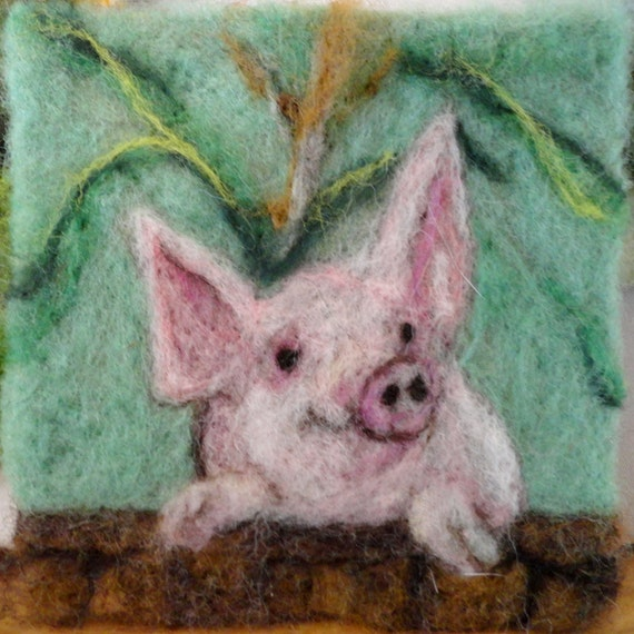 "069 ""Petunia Pig"" Thyme Tile Needle Felting Pattern Kit"